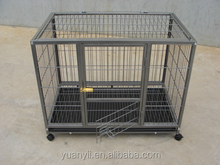 Powder coated metal Dog cage wheeled Dog crate with tray