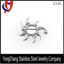 New arrival 316L stainless steel flywheel nipple ring shield