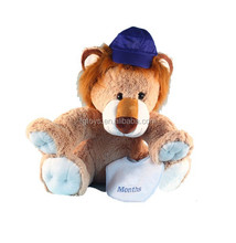 12inch Stuffed Animal Plush lion with a blue hat baby Boy good gift toys
