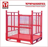 Collapsible Panel Box Steel Mesh Grid Cage Metal Stackable Box Pallet(L1400*1150mm/OEM)