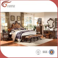 Solid wood bed set with luxury hotel bedroom furniture WA151