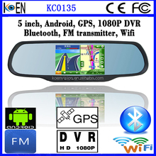 2015 Hot 1080P DVR FM Wifi GPS Rearview Mirror Android 5.0 Inch Multimedia Car Entertainment System