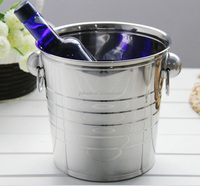 Metal Stainless steel ice bucket with handle