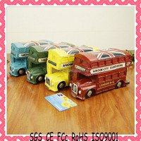 Personalized OEM custom plastic money saving box/custom bus coin bank/bus coin bank manufacture