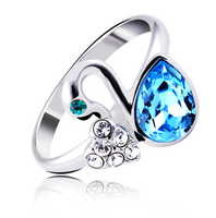 ocean blue diamond swan design ring jewels with crystals from swarovski 40034