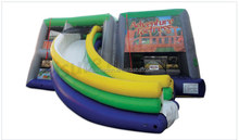 new design inflatable hybrid slide and bounce house and ball pond