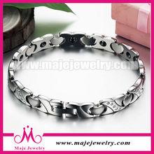 Silver stainless steel smart sport bracelet link heart clasp jewelry bangles