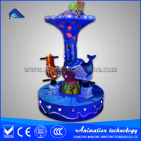 2015 Amusement park kiddie rides fairground 3 seats mini carousel coin operated horse carousel for sale