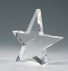 star shape clear solid acrylic block photo frame