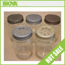 Glass mason jar mug with daisy cut cap