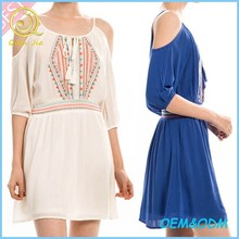 2015 Women Summer Clothes Embroidered Open Shoulder Mini Dress