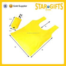 Alibaba wholesale foldable tote bag cheap yellow polyester foldable shopper bag