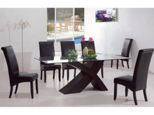 DT-4037 Wooden Dining Table with Glass Top