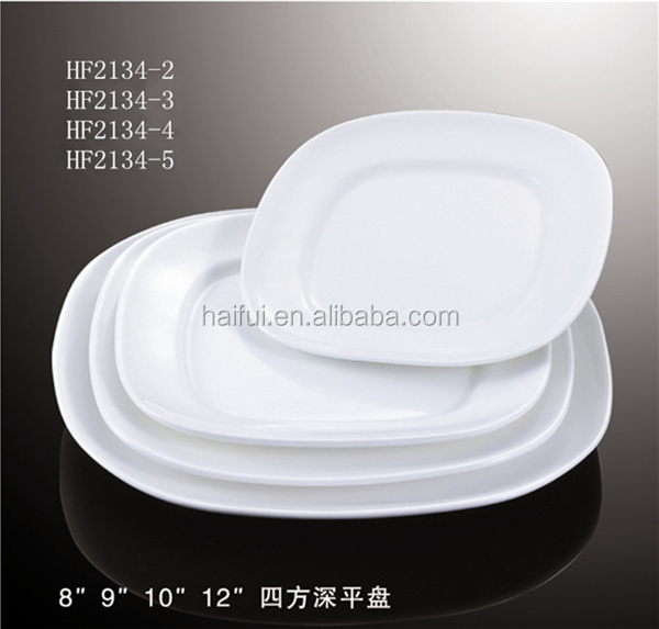 Square Flat Ceramic Dinner Plate In Shallow And Deep