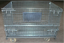 PVC coated industrial stackable collapsible steel metal wire mesh cage
