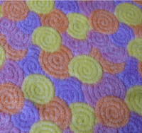 cheap Colored circle pattern coral fleece oriental upholstery fabric