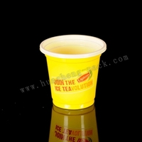disposable 4oz plastic drink mug cup colored sealing roll film