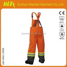 yellow adult waterproof pants/industrial work pants reflective
