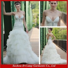 WD-1355 Fancy deep plunging sweetheart neckline ruched bodice ruffles skirt very sexy wedding dresses images