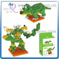 Mini Qute DIY change Robot Triceratops Dinosaur Diamond nano plastic building blocks bricks model educational toy NO.BY 8303A