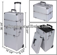 2015 aluminium cosmetic case ,beauty case with trolley ,new aluminum case with 3 layer