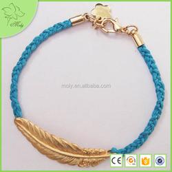 2015 Wholesale Braided Leather Fashion Alloy Feather Bracelet
