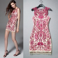 Top Quality New Fashion Celebrity Inspired Party Dress 2015 Summer Women Allover Floral Embroidery Bodycon Dress Cocktail Party