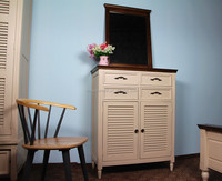 solid painted birch wood 4 drawer and 2 doors bedroom furniture storage shoe case