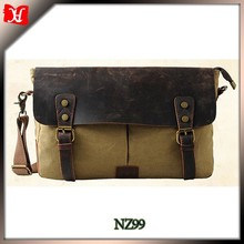 Men Handbag Leather Cross Body Shoulder Bag Bucket canvas travel bag