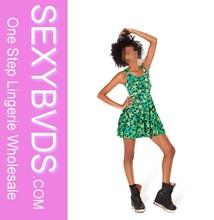 Fashion printed green sleeveless sexy girl tight mini dress