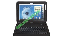 Aluminium bluetooth keyboard for galaxy note 10.1 With 450mAh Mobile Power And PU Leather Case