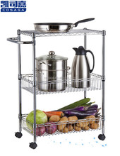 Adjustable three tiers hotel tea trolley/kitchen trolley cart