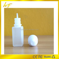 New design plastic e-liquid bottle 10ml PE square shape with child proof cap and long thin dropper