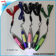 exquisite promotional plastic note led mini ballpen with lanyard