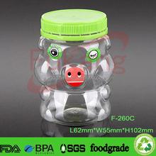 260cc animal shape plastic jars, lovely smart pet plastic candy jar, clear plastic sweet bottle for kids gift wholesale