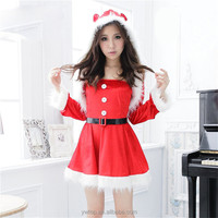 Beauty Sexy Christmas Costumes Suit with Hat and Belt Adult Red Party Cosplay for Girl Velvet at Ball Factory Direct Sale