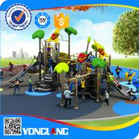 kids amusement tall metal slide and climbing net park outdoor playground