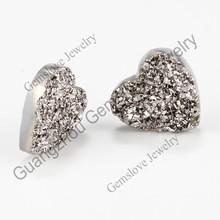 Heart Shape 8x8mm Silver Titanium Druzy Stone Natual Agate Druzy Beads