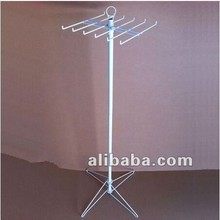 Metal Tie Spinner Wire Display Rack Stand with Pigtail Sign Holder and Folding 4-Prong Base