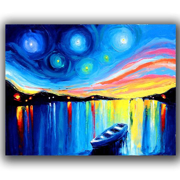 pintado a mano barco abstracta pinturas al óleo-Pintura y ...