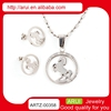 Lucky silver horse pendant necklace wholesale body jewelry set
