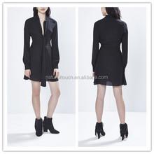 Latest design charming sash tie neck long sleeve women dress/ladies' casual dress NT131