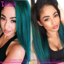 New product long ombre virgin hair green ombre wig