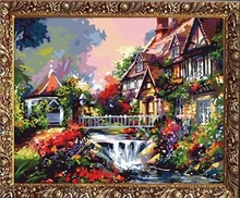 40*50cm oil painting set village scenery painting, oil paintings picture frame