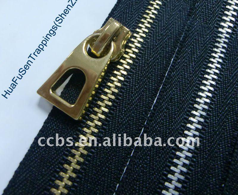 Alta calidad No.5 moda de los dientes de oro de la cremallera de Metal y Slider