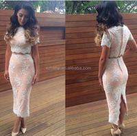 W810 Fashionable beaded lace sheath back slit two piece ankle length evening dresses with sleeves