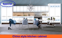 China blue and white porcelain style special PVC kitchen cabinet