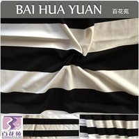 51% Polyester 44%Viscose 5%SP Knitted Ponte Fabric Black/White Auto Stripes Roma Fabric