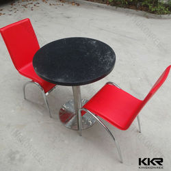 black round solid surface dinning table stainless steel legs