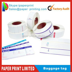 Thermal Airline Luggage tags for Airports thermal paper direct print bag tag for airport baggage